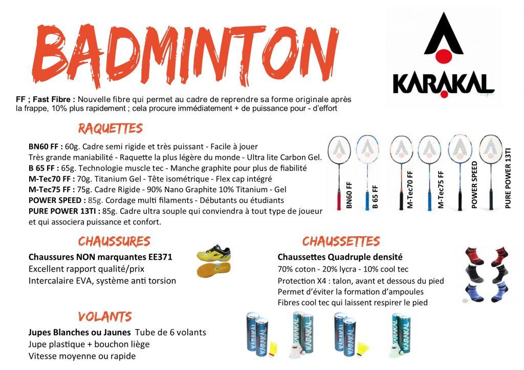 badminton KARAKAL descriptif Produits